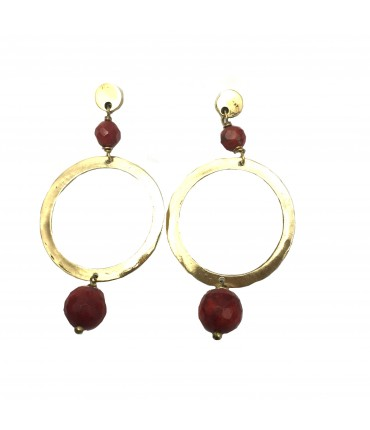 MAJO polished bronze earrings with madrepore