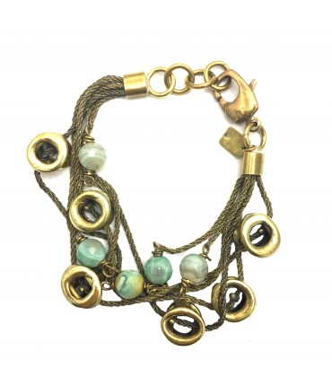 MAJO bracelet with polished bronze and amazonite elements