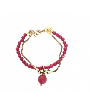 Majo glossy bronze bracelet with twisted mesh and bordeaux agate stone