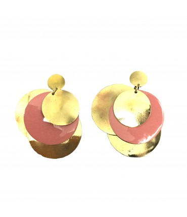 MAJO earrings with bronze pads and salmon enamel