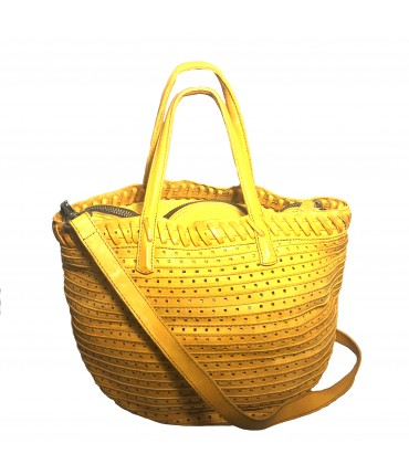MAJO bag shopping bag with yellow perforated leather