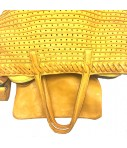 shopping bag MAJO con tracolla pelle forata colore giallo