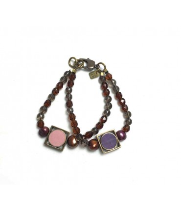 Handmade MAJO bracelet double lap crystals and pink / purple resin