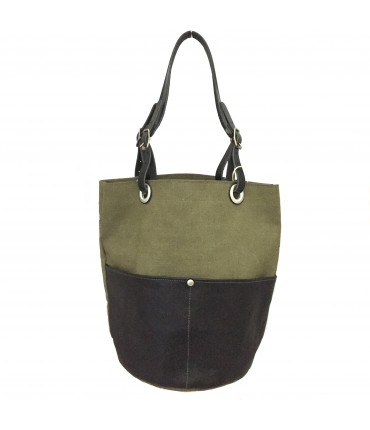 Sud bucket bag in black leather + army green fabric