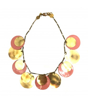 MAJO necklace with polished bronze and salmon pink enamel pads