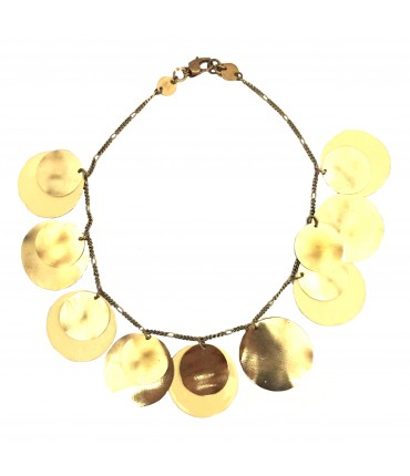 MAJO necklace with polished bronze and salmon cream enamel pads