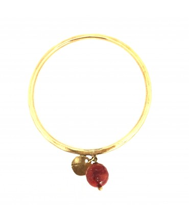 MAJO handmade bracelet with polished bronze medal and madrepore pendant