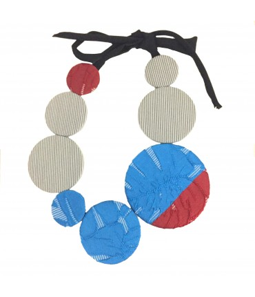 FLOW-ERS choker with blue + red handmade pads