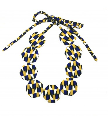 FLOW-ERS choker necklace with blue electric + yellow silk octagonal pads