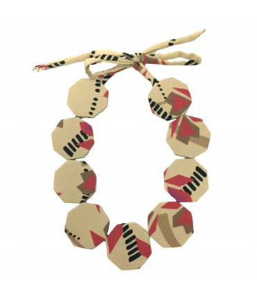 FLOW-ERS choker necklace with mustard-coloured silk octagonal pads