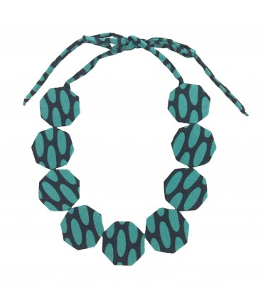 FLOW-ERS choker necklace with turquoise and black silk octagonal pads