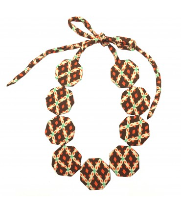 FLOW-ERS choker necklace with brown and orange silk octagonal pads