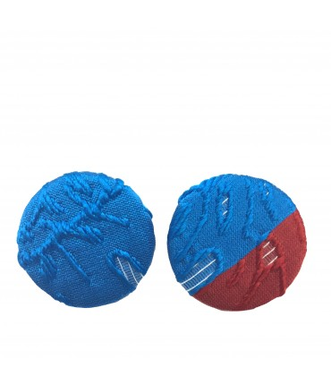 FLOW-ERS blue & red pad earrings