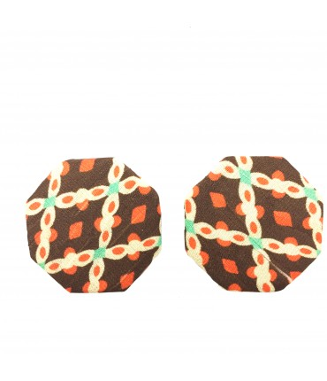 FLOWERS octagonal silk earrings brown + orange