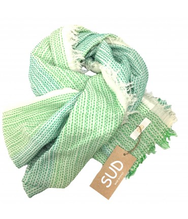 Sud stole in cotton gauze stitched in sea green/cream