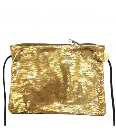 Sud shoulder bag in laminated leather gold color