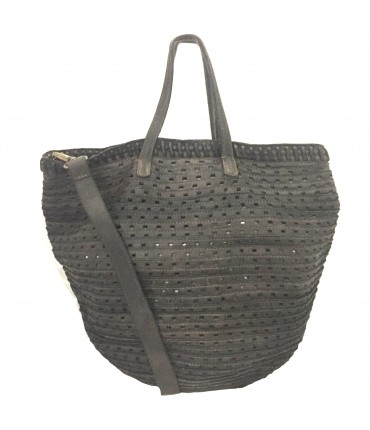 Majo maxi shopping bag in perforated leather with double brown oak handle