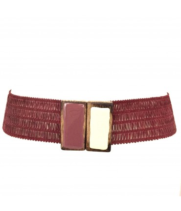 Exquisite J high waistband raspberry + bicolour enamel buckle