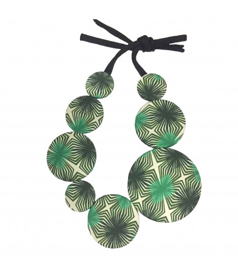 collana girocollo FLOW-ERS pastiglie fantasia optical verde