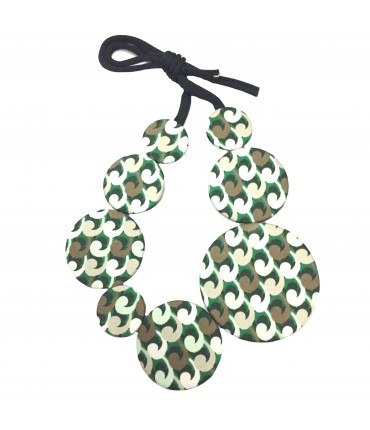 Flow-ers necklace green and hazel color pattern