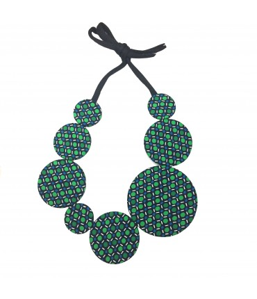 Flow-ers necklace green + turquoise polka dots pattern