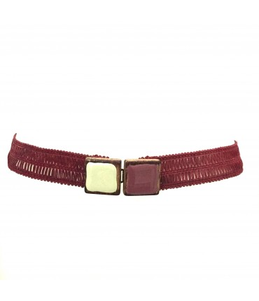 Exquisite J belt buckle wood and bicolor  enamel raspberry color