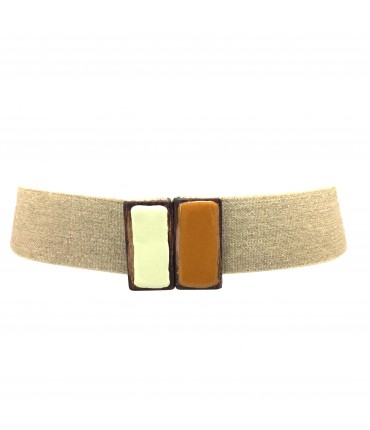 Exquisite J elastic linen waistband with hand-painted bicolour wood buckle