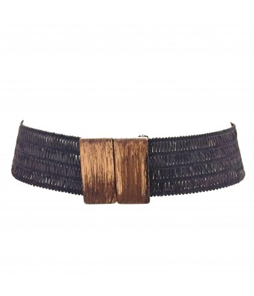 Exquisite J high belt anthracite color with rectangular wood buckle