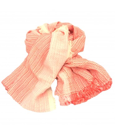 Sud stole in cotton gauze stitched in pink/coral