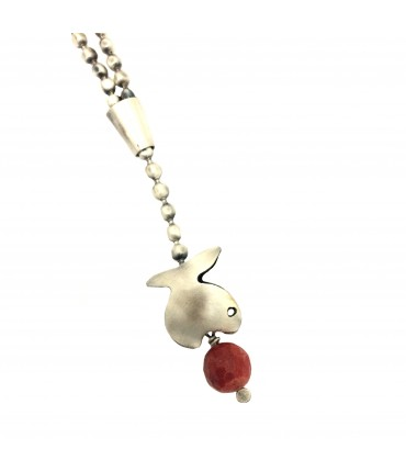 Majo necklace pewter and fish + madrepore ball