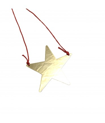 Grandmother golden star necklace + red lanyard