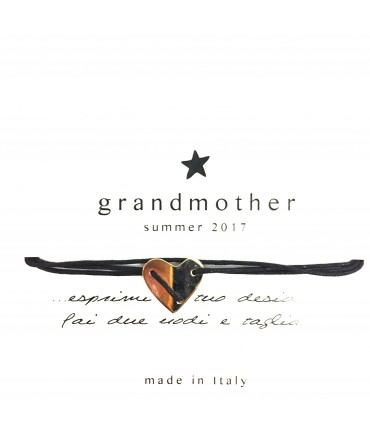 bracciale GRANDMOTHER cuoricino cordino nero