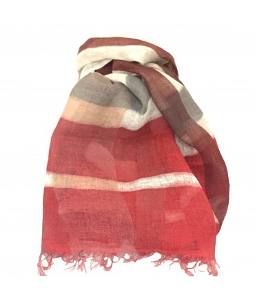 Exquisite J hand-painted flax gauze scarf in red check pattern