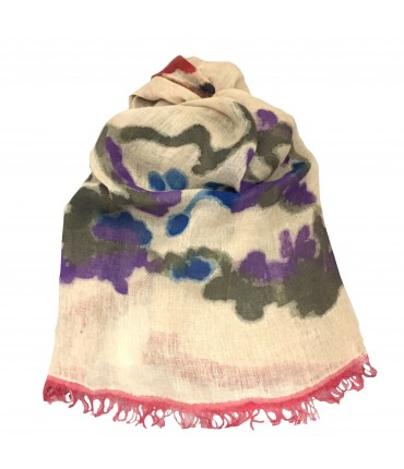 Exquisite J scarf in flax gauze hand-painted flowers and fuchsia contrast fringes