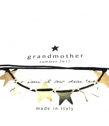 Grandmother six stars necklace black cord