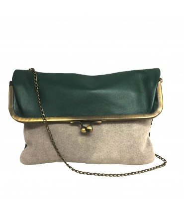 Exquisite J shoulder bag in dark green and light gray suede