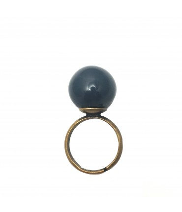 Tolemaide ring with big ceramic night blue marble
