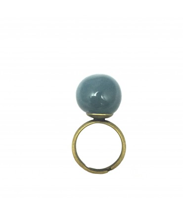 Tolemaide ring with big ceramic ash-blue marble
