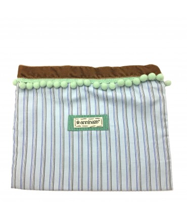 Large envelope clutch Annina28 pale blue stripes with green sea pompon