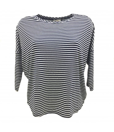 Sud t-shirt white stripes on blue navy