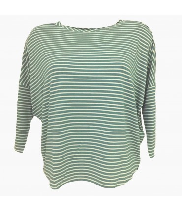 t-shirt SUD verde menta righine bianche