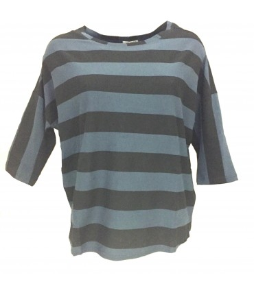 Sud gray anthracite T-shirt and baby blue stripes