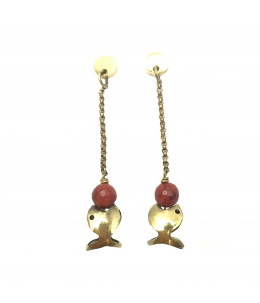 Majo bronze pendant earrings with fish and madrepore marbles