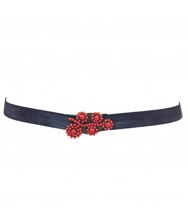 Exquisite J dark blue belt with red buckle flower crystal