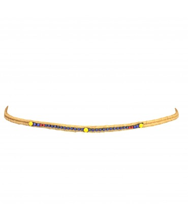 Exquisite J belt with central row of purple + red + yellow crystals