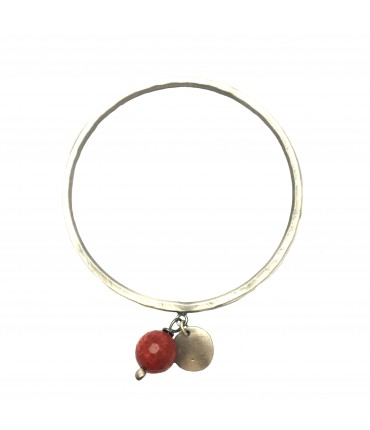 Handmade Majo bracelet in pewter with small medal pendant and madrepore stone