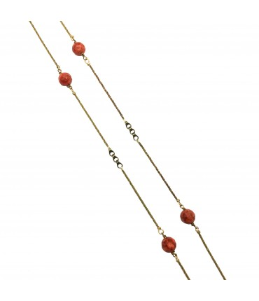 Majo long polished bronze necklace with madrepore balls