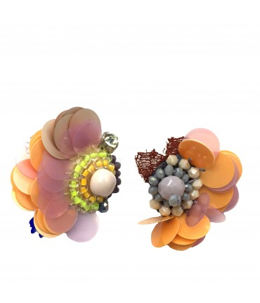 Chiara Fini earrings orange or pink sequins pads