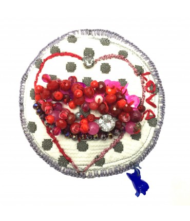 Chiara Fini maxi lips brooch hand embroidered