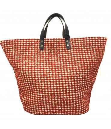 Sud hand bag in cognac check pattern wool + leather handle